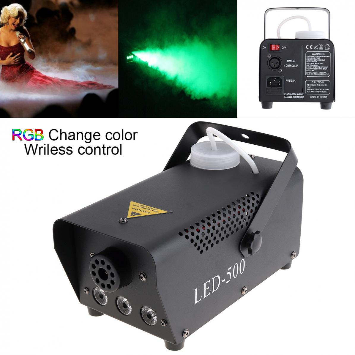 Wireless Remote Control LED 500W Fog Smoke Machine Remote RGB Color Smoke Ejector LED Disco DJ Party Stage Light Smoke Thrower