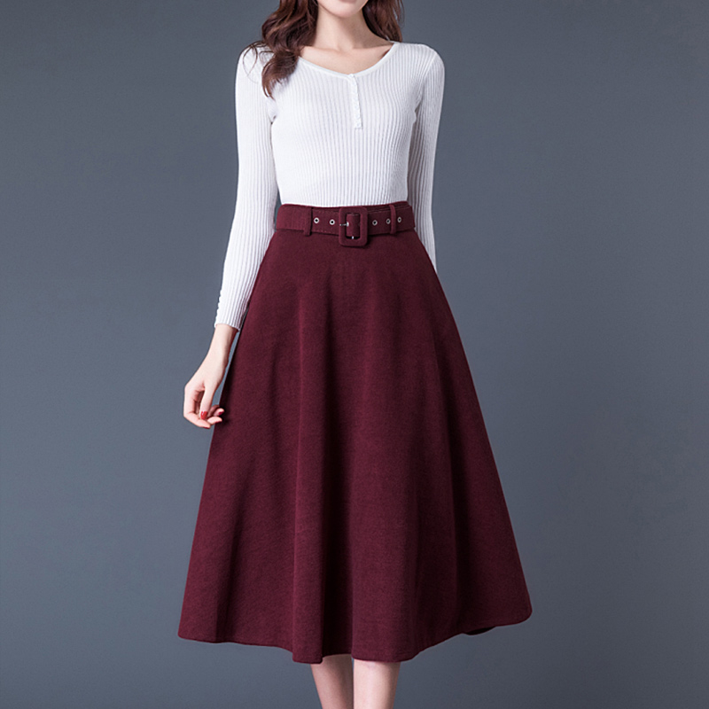 2019 Autumn Winter Women Faux Wool Maxi Skirts With Belt Fashion Vintage High Waist Woolen Female Streetwear Casual Skirt