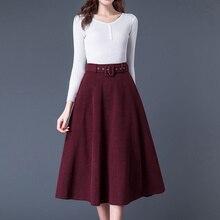 2020 Autumn Winter Women Faux Wool Maxi Skirts With Belt Fashion Vintage High Wa