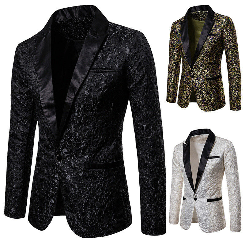 Fashion Men's Suit Blazers Casual Slim Formal One Button Blazer Tops Club Party Outwear