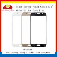 10 adet/grup Dokunmatik Ekran Samsung Galaxy S7 G930 G930F SM G930F Dokunmatik Panel Ön Dış S7 LCD Cam Lens Değiştirme