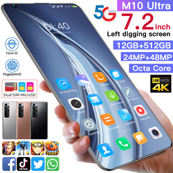 M10 ультра 5G глобальная версия смартфона MTK6889 + Deca Core, размер экрана 12 г 512 6000 мАч Новый 48 Мп задняя 7,2 дюймов HD Экран Камера мобильного телефона