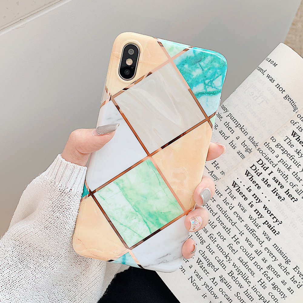 LOVECOM Geometric Marble Phone Cases For iPhone 11 Pro Max XR XS Max 6 6S 7 8 Plus X Soft IMD Electroplated Back Cover Coque