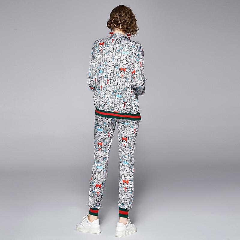Spring Fall Runway 2 Piece 2pcs Womens Sets Vintage Baroque Print Zippered Long Sleeve Top Jacket Coat Pants Tracksuits Outfits