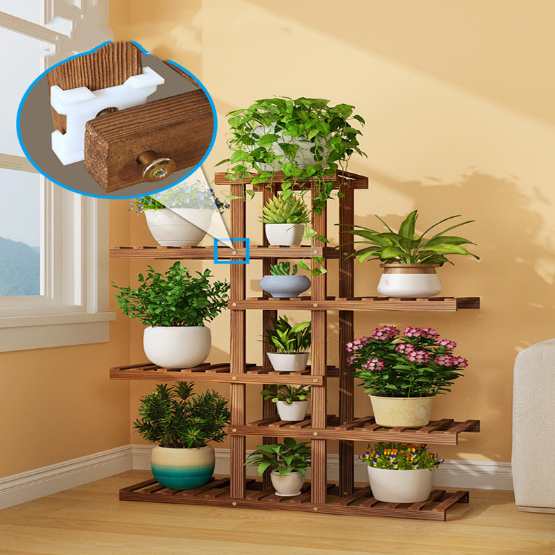 Rack Green Luo Solid Wood Flower Airs Flowerpot Frame Balcony By Wall Multi-storey Room Domestic And Foreign Modern Simplicity