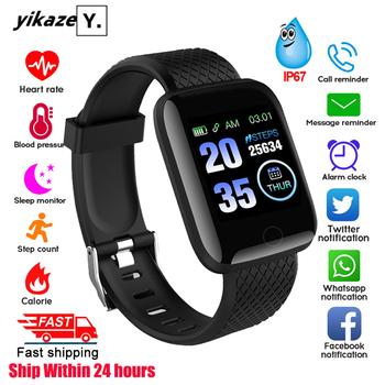 116 plus inteligentny zegarek mężczyźni kobiety Monitor ciśnienia krwi wodoodporna opaska monitorująca aktywność fizyczną bransoletka inteligentny zegarek z funkcją pomiaru rytmu serca dla androida IOS tanie i dobre opinie YIKAZE Wszystko kompatybilny SİLİCA Passometer Fitness tracker Wiadomość przypomnienie Naciśnij wiadomość Kalendarz