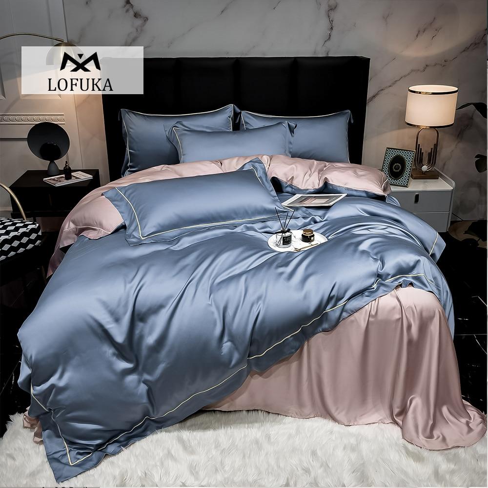Lofuka Top Grade 100% Silk Women Blue Pink Bedding Set Beauty Duvet Cover Pillowcase Queen King Flat Sheet Or Fitted Sheet