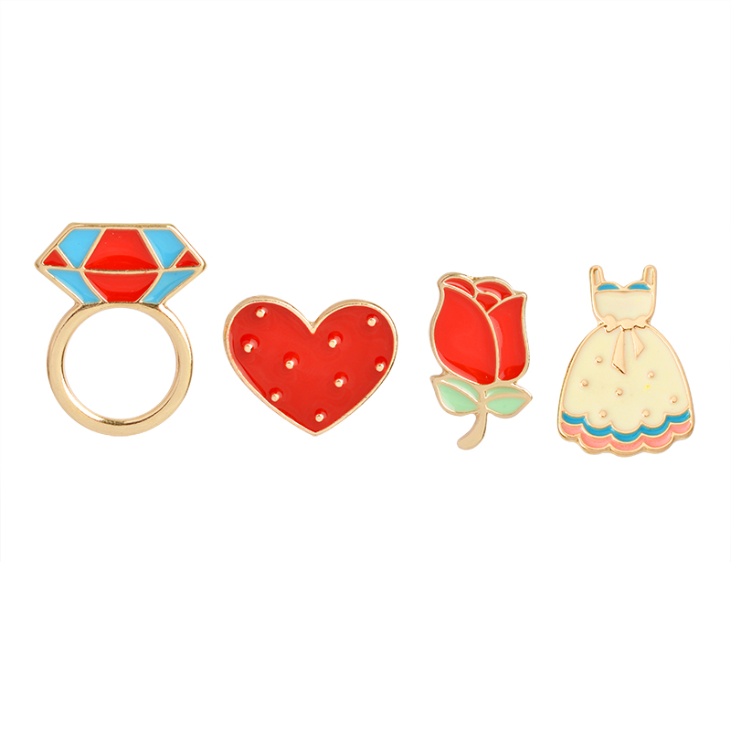 3~6pcs/set Cat rose bird koi sakura cool car Brooch Button Pins Denim lapel pin badge Fashion cartoon jewelry Gift for Kids girl 6