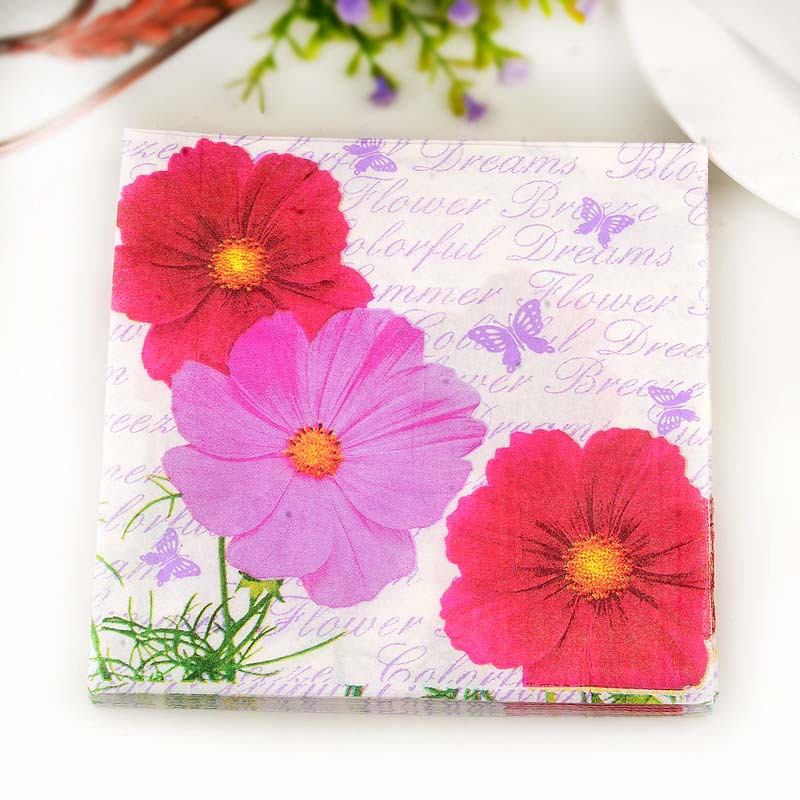 Flower Color Printed Napkin Paper Placemat Napkin Wedding Banquet Wedding Jie Hun Bei Stained Paper Hotel Paper Small Chrysanthe