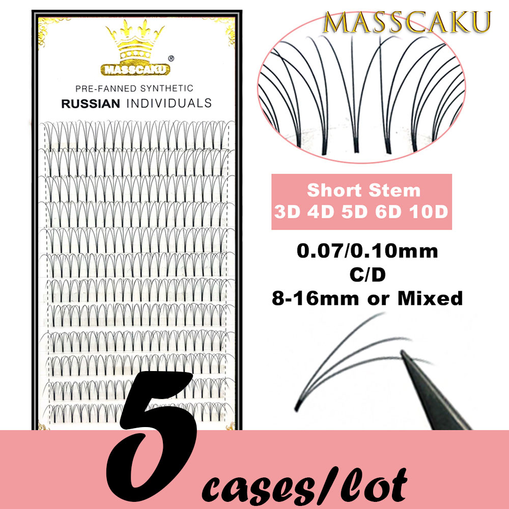 5 Cases/lot High Quality 3d/4d/5d/6d/10d Short Stem Eyelashes Pre Made Volume Fans Premade Russian Volume Eyelash Extention