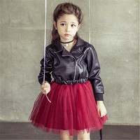 Fashion Autumn Winter Toddler Clothing Clothes Children Toddler Leather Jacket Coat Dresses Tops Kids Girl Tops Dress Girls