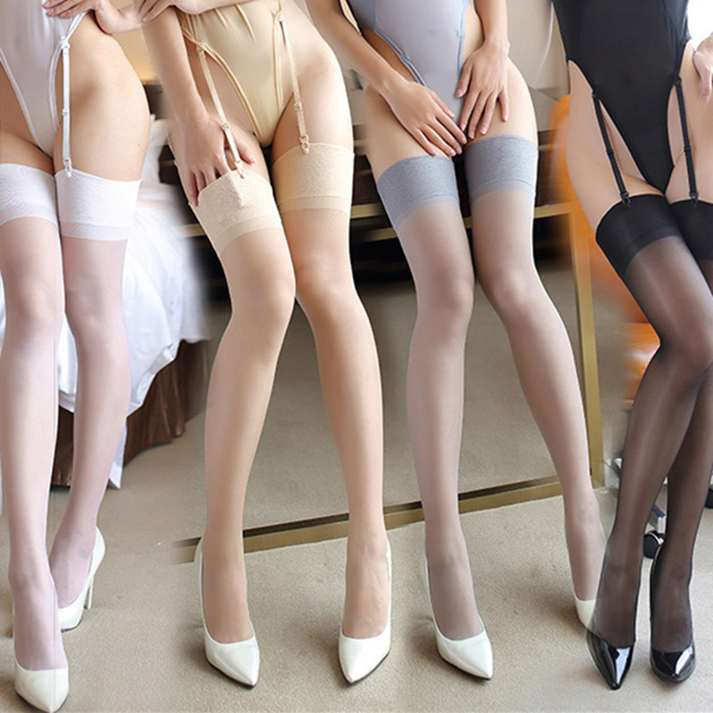 New Arrival Women Wide Rib Top Cuff Sexy Stockings Transparent Silk Stocking Ladies Thigh High Stockings Medias 9013