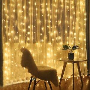 Image 3 - Thrisdar 2x3 متر/3x3 متر LED الشمسية نافذة الستار سلسلة ضوء في الهواء الطلق حديقة الشمسية الستار جليد جارلاند ضوء لعيد الميلاد عطلة