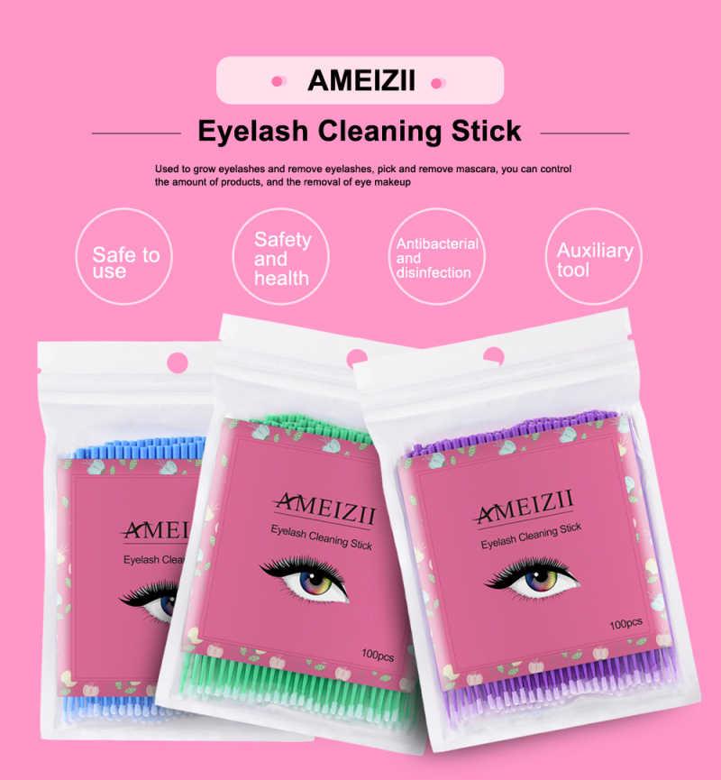 AMEIZII Brand New 100 Pcs Eyelashes Cosmetic Swabs Applicator Brushes Dental Mircro Brush Micro Mascara Wands Spoilers Wholesale