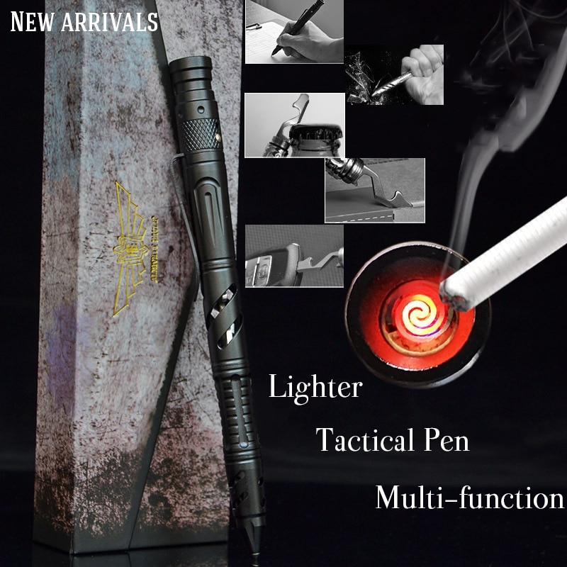 Güvenlik ve Koruma'ten Kişisel Savunma Malzemeleri'de 6 In 1 taşınabilir taktik kalem acil elektronik ateşleme çakmak kendini savunma kurtarma EDC aracı cam kesici açık title=