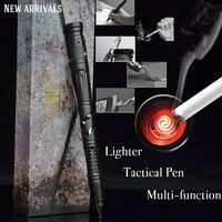 6 en 1 Portable stylo tactique d'urgence électronique allumage briquet auto-défense sauvetage EDC outil verre briseur extérieur