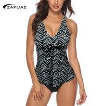 купить 2019 New Sexy Vintage Print Tankini Two Piece Swimsuit Sports Push up Bikini Plus size Swimwear Women Female Bathing Suit S-3XL дешево