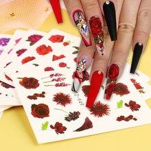 1Set adesivi misti per unghie rosa fiori farfalla acqua decalcomanie Nail Art decorazione Slider polacco stagnola punte di carta CHSTZ930-969