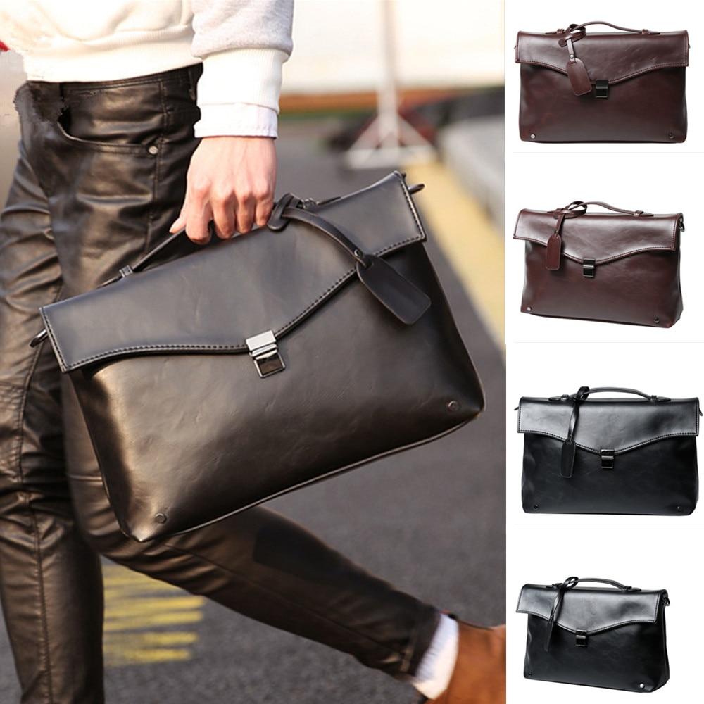 Business Office Briefcase Men Brand PU Leather Handbag Vintage Envelope Shoulder Bag Casual Solid Women Messenger Bag Retro 2019