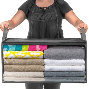 Non-woven Foldable Storage Box Portable Clothes Organizer Tidy Pouch Suitcase Home Storage Box Quilt Storage Container Bag