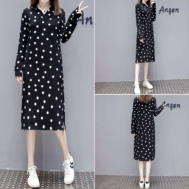Large Size Dress Autumn New Style Fashion Casual Polo Collar Polka Dot Long-sleeved Dress Fat Mm By Age Slimming Skirt