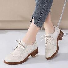 JZZDDOWN kadın ayakkabı hakiki deri Brogue sonbahar bayanlar mokasen kadın kadın deri ayakkabı lüks oxford ayakkabı kadınlar için