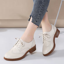 JZZDDOWN women shoes genuine leather Brogue Autumn Ladies moccasins Female Women leather shoes Luxury oxford shoes for women