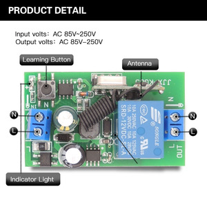 Image 5 - 433 МГц rf пульт дистанционного управления AC 220 В 10A 1CH релейный приемник для универсального гаража/двери/светильник/светодиодный/Fanner/двигатель/передача сигнала