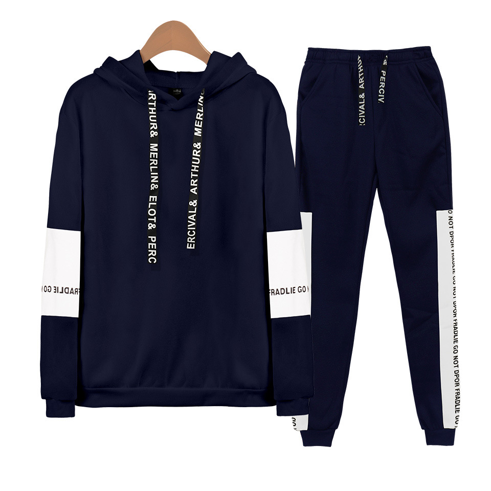 New Style Solid Color Blank Hoodie Two-Piece Set Men And Women Versatile Blank Sportswear Autumn And Winter Morning Exercise Joi
