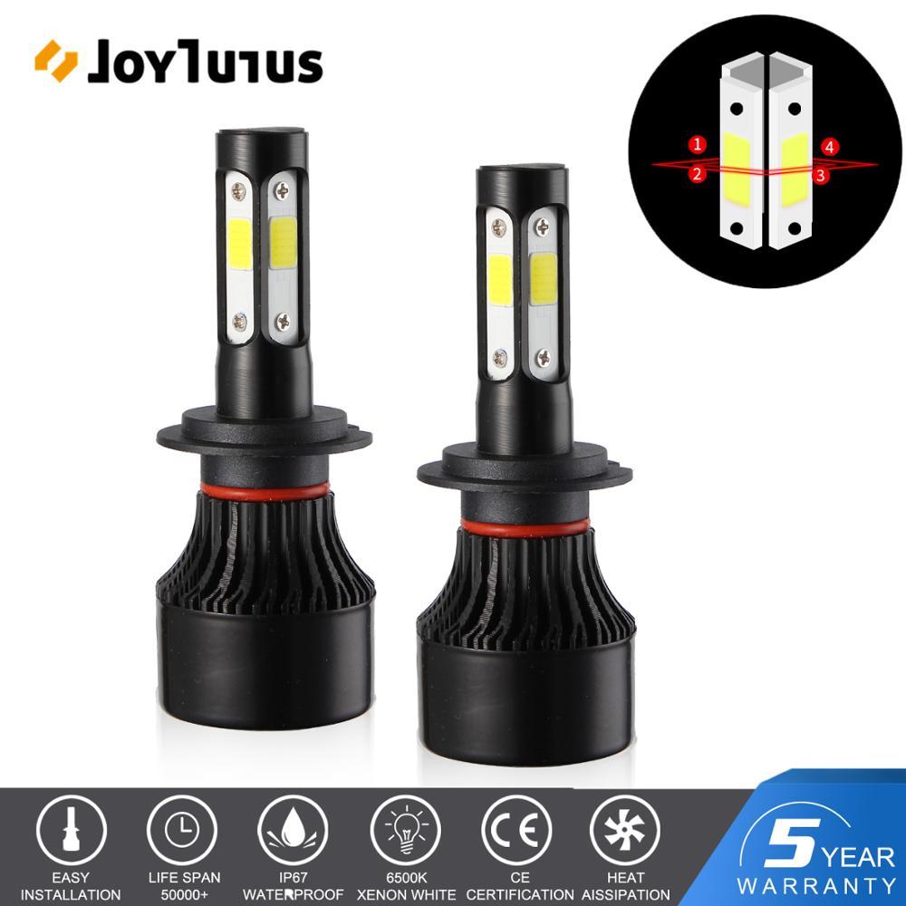 2pcs H7 LED Headlight H4 H11 4 Sides Car Headlight Bulbs 9005 9006 DOB Chips 6500K 10000LM 12V 24V Lights For Cars