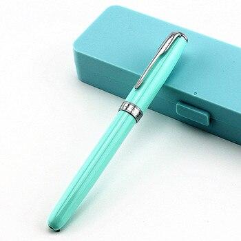 Jinhao 75 pluma de Metal de punta media/plumín curvo hermoso bolso de franela caja de color, selección de regalo de escritura para oficina de negocios