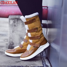 CDAXILAN new arrival snow boots women suede thickened plush warmth legs mid-calf mid heel wedge shoes ladies winter