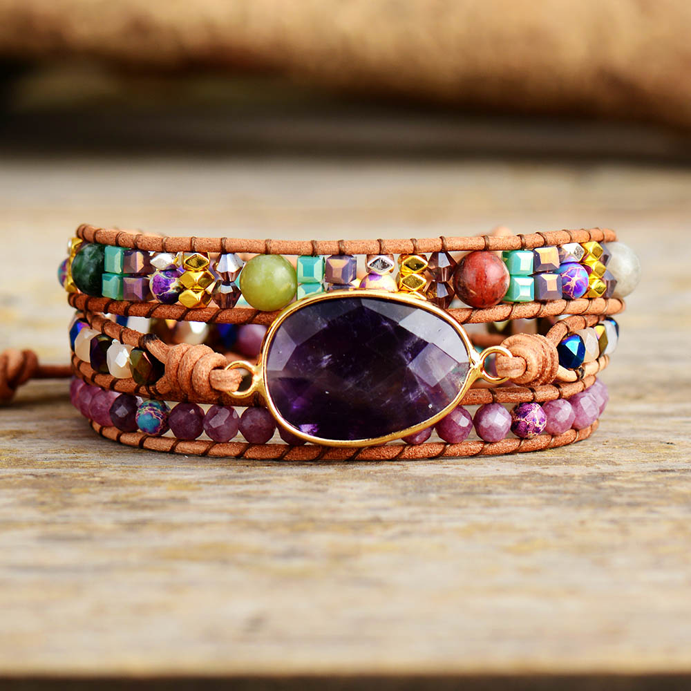 Leather Wrap Bracelets W/ Natural Stone Amethysts Crystals Beaded Triple Statement Art Bracelet Bohemian Jewelry Gifts