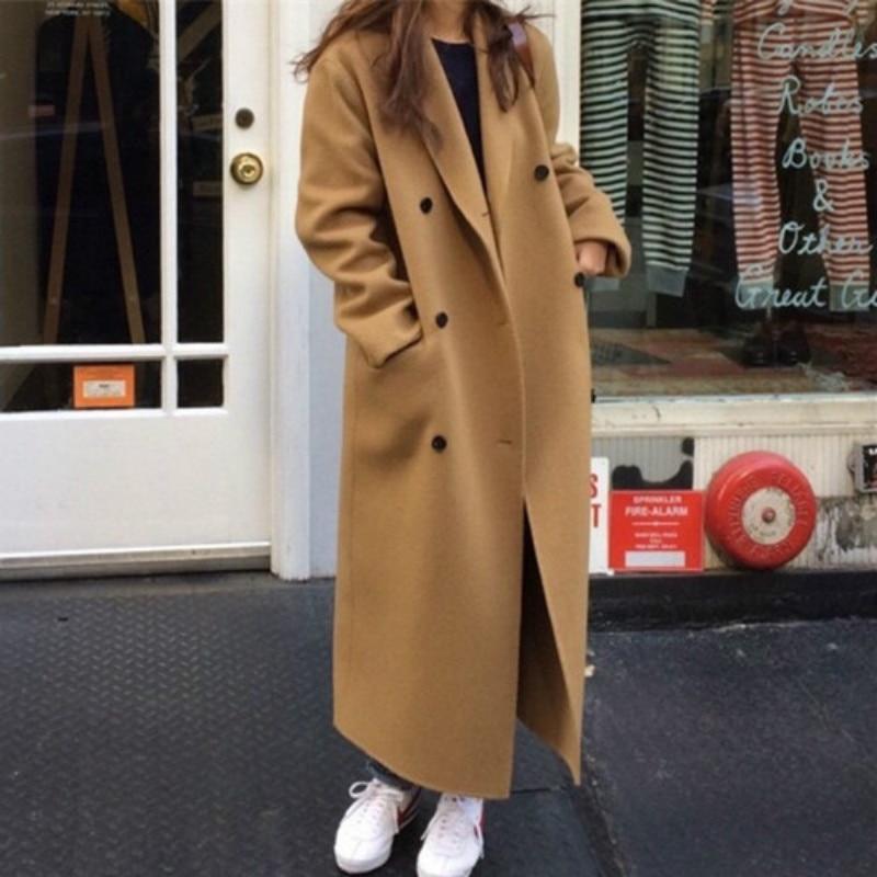 Korea Women Autumn Winter Double Breasted Long Wool Coat Ladies Long Sleeve Notched Collar Overcoat Parka