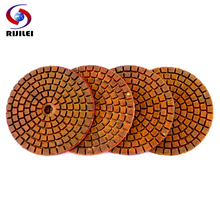 RIJILEI 4PCS Super 3inch Diamond polishing pads Copper bond wet pad for granite marble concrete floor Grinding Disc