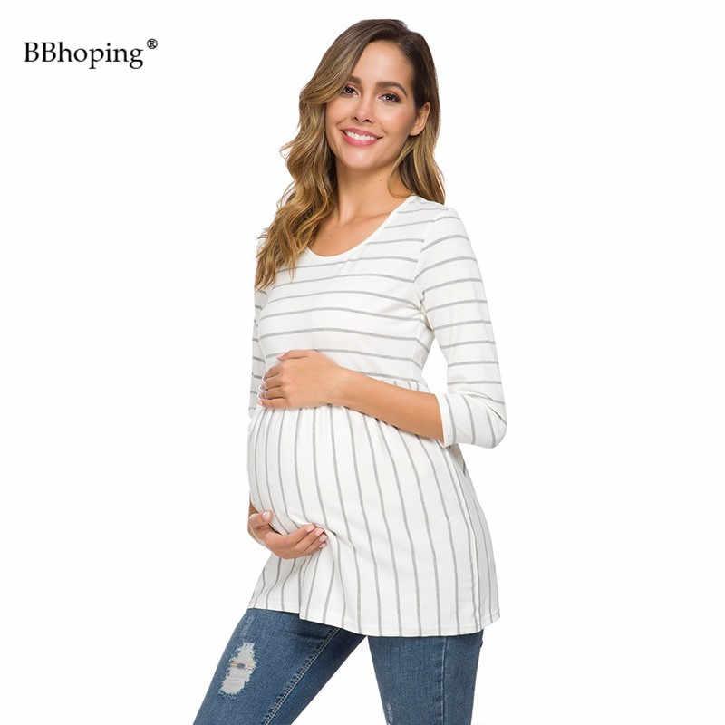 Les femmes de la Maternité hauts à rayure 3/4 Manches Péplum décontracté Grossesse Blouses Col Rond Maman Vêtements Basiques Confortable Vêtements De Maternité