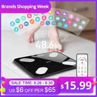Mrosaa 26*26cm Balance de graisse corporelle Balance imc intelligente LED salle de bains numérique sans fil Balance de poids Balance bluetooth APP Android IOS