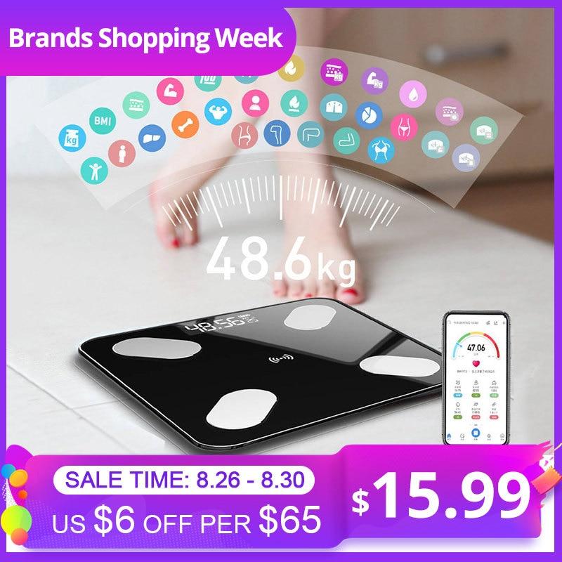 Mrosaa 26*26cm Escala de Gordura Corporal Escala BMI LEVOU Banheiro Digital Escala de Equilíbrio de Peso Sem Fio Inteligente bluetooth APP IOS Android