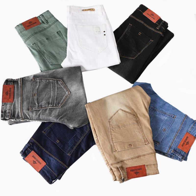 Novedad De 2020 Pantalones Vaqueros Blancos Ajustados A La Moda Para Hombres Jovenes Pantalones Elasticos De Algodon Para Hombres Pantalones De Pie Ajustados Caqui Azul Negro Gris Aliexpress