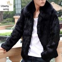 Men Rabbit Short Coat Fox Fur Collar Shearling 2020 Slim Business Jacket Top Brand Long Sleeve Zip Winter Black Outwear 4XL