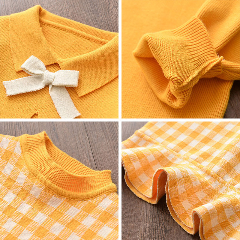 Baby girl clothes autumn and winter knitted sweater two-piece fashion girl plaid print vest sweater skirt baby girl sweater set 5