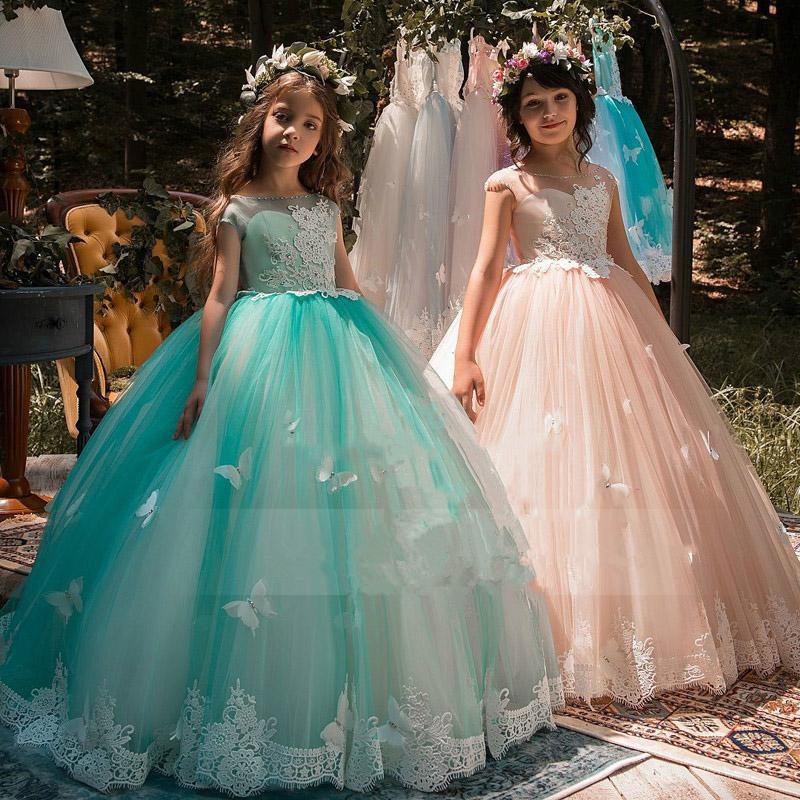 New Arrival   Flower     Girl     Dresses   Royal Blue High Neck Long Sleeves Ball Gown Lace Appliques First Communion Pageant Gowns