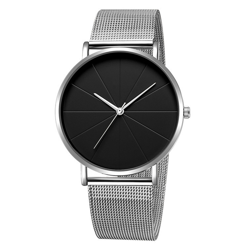 Minimalism Men's Casual Wrist Watches Men Stainless Steel Quartz Cloc Male Watch Mesh Belt Male Hour NO LOGO Drop Shipping A3285(China)
