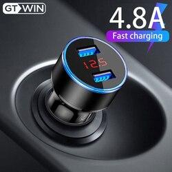 GTWIN 4.8A podwójna ładowarka samochodowa USB Adapter do telefonu komórkowego z wyświetlaczem LED szybkie ładowanie dla iPhone Xiaomi Samsung Huawei LG uniwersalny w Ładowarki samochodowe od Telefony komórkowe i telekomunikacja na