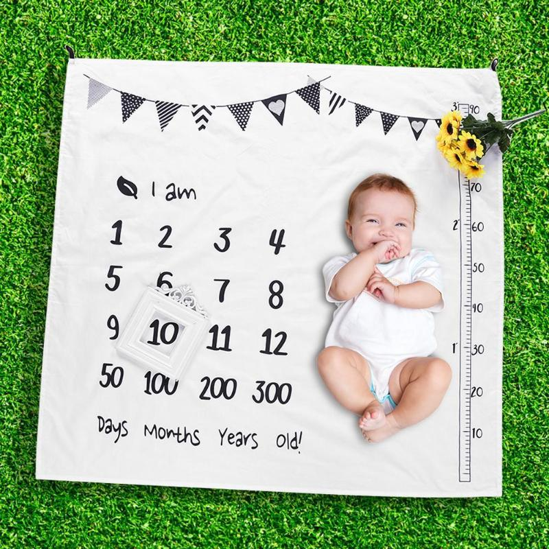 Baby Photography Blanket Newborn Swaddle Stroller Bedding Wrap Photo Background Cloth Monthly Growth Number Photography Props