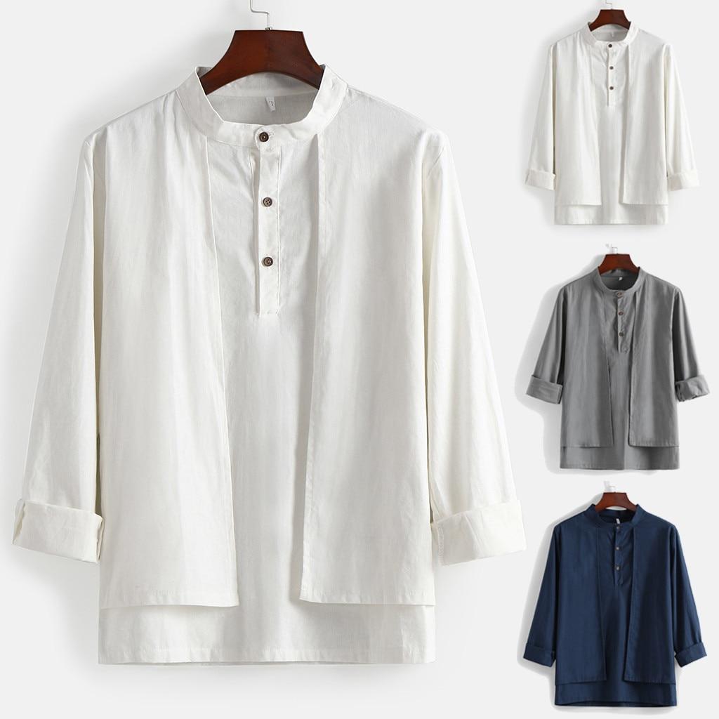 Autumn New Fashion Mens Season Button Casual Stand Collor Irregularity 100% Cotton Shirt Top Blouse Camisa Masculina Z4
