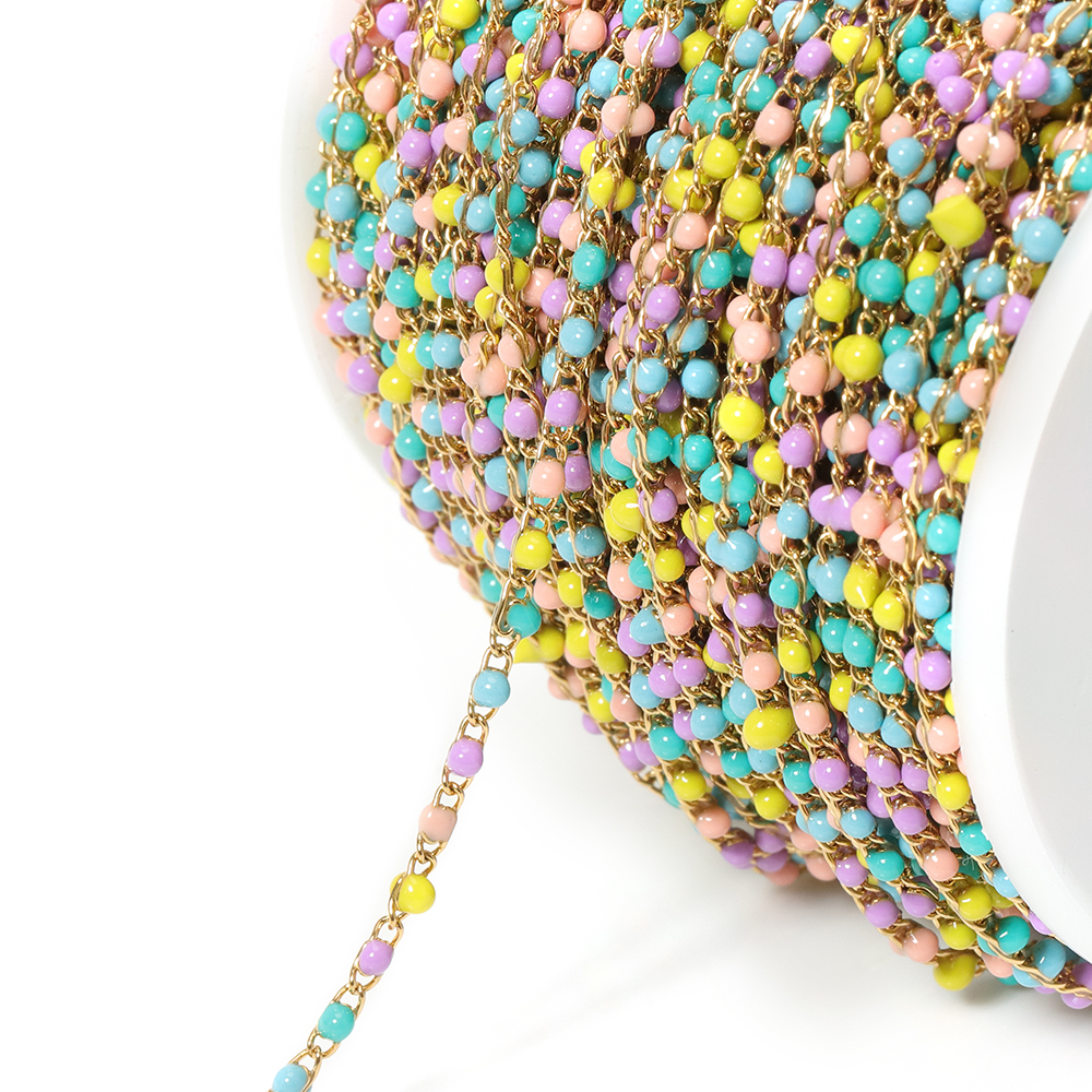 2Meters 2x3mm Colorful Gold Necklace Chain Stainless Steel For Bracelet Accessories For Jewelry Making Wholesale DIY