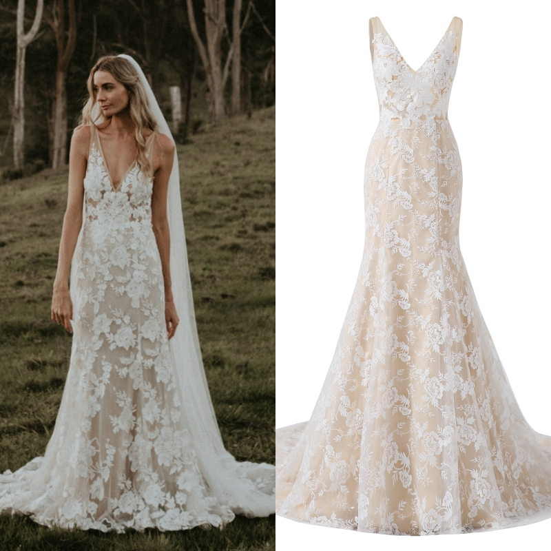 REAL PHOTO Champagne Lace Bohemian BRIDAL Wedding Party Wedding Dress Bridal Gown Cheap Factory Price