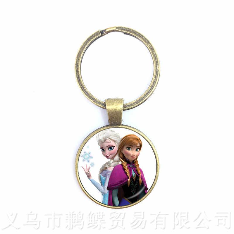 נסיכת Anna אלזה גברים מחזיקי מפתחות תכשיטי זכוכית קרושון נסיכת שלג מלכת Keyring עבור גברים נשים ילדים
