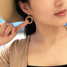 Fashion Hollow Out Circle Earring Elegant Ladies Metal Style Pendant Women